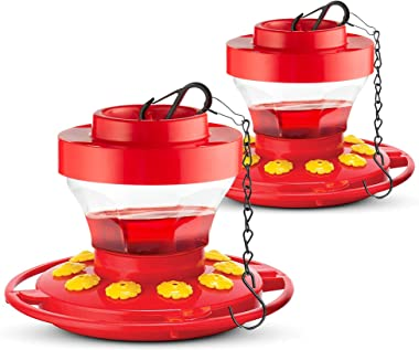SEWANTA Hummingbird Feeders for Outdoors 16-Ounce [Set of 2] First Nature Hummingbird Feeder Includes, Perch with 10 Feeding