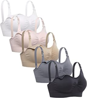 Lataly Womens Sleeping Nursing Bra Wirefree Breastfeeding Maternity Bralette Pack of 5