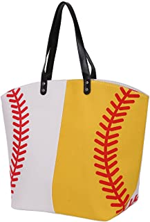 E-FirstFeeling Large Baseball Tote Bag Sports Prints Utility Tote Beach Bag Travel Bag
