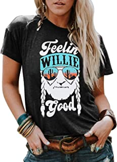 Feelin' Willie Good Shirts Country Music T Shirts for Women Vacation Casual Tee Tops Summer Short Sleeve Graphic Blouse