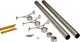 Outwater 6' Bar Foot Rail Kit – Complete Undercounter Mount Hardware and Tubing, Satin Stainless Steel Finish