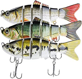 Bass Fishing Lures – Pack of 3 Artificial 6-Joint Fishing Baits – Realistic Swimbaits Lures for Bass – Carbon Steel Hard Bait – 3D Eye Design – Rigged with Durable Hooks – 3.93-inch ABS Fish Lure