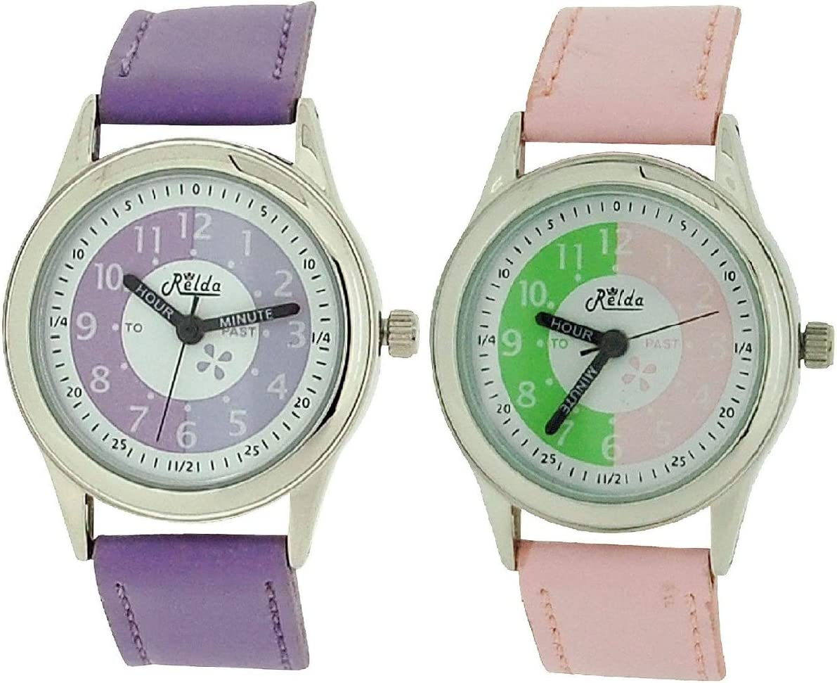 2 X Relda Time Max 56% OFF Teacher Pink Lilac Kids Fort Worth Mall PU Gift Strap Watch Girl
