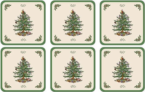 Spode Christmas Tree Hardback Coasters Set Of 6