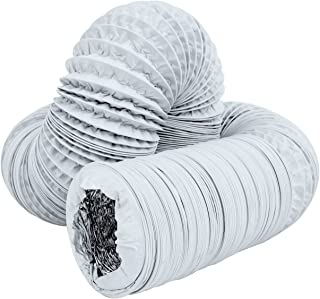 Hon&Guan 3 inch Air Duct - 16 FT Long, White Flexible Ducting HVAC Ventilation Air Hose For Grow Tents, Dryer Rooms,Kitchen