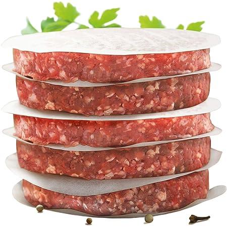 Int! rend- Papier de hamburger pratique pour des galettes de hamburger parfaites - 500 pièces de papier ciré de 11 cm de diamètre - Papier de Hambourg ciré pour griller du rôti - Papier anti-adhésif - Accessoires de grille de qualité supérieure