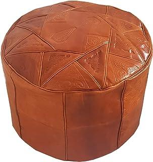 Desert Craft Cuir Véritable Pouf Marocain Fait Main Ottoman Repose Pieds  Non Remplis