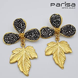 Ottoman Collection - Handmade gold plated earrings embedded with black Zirconia stones