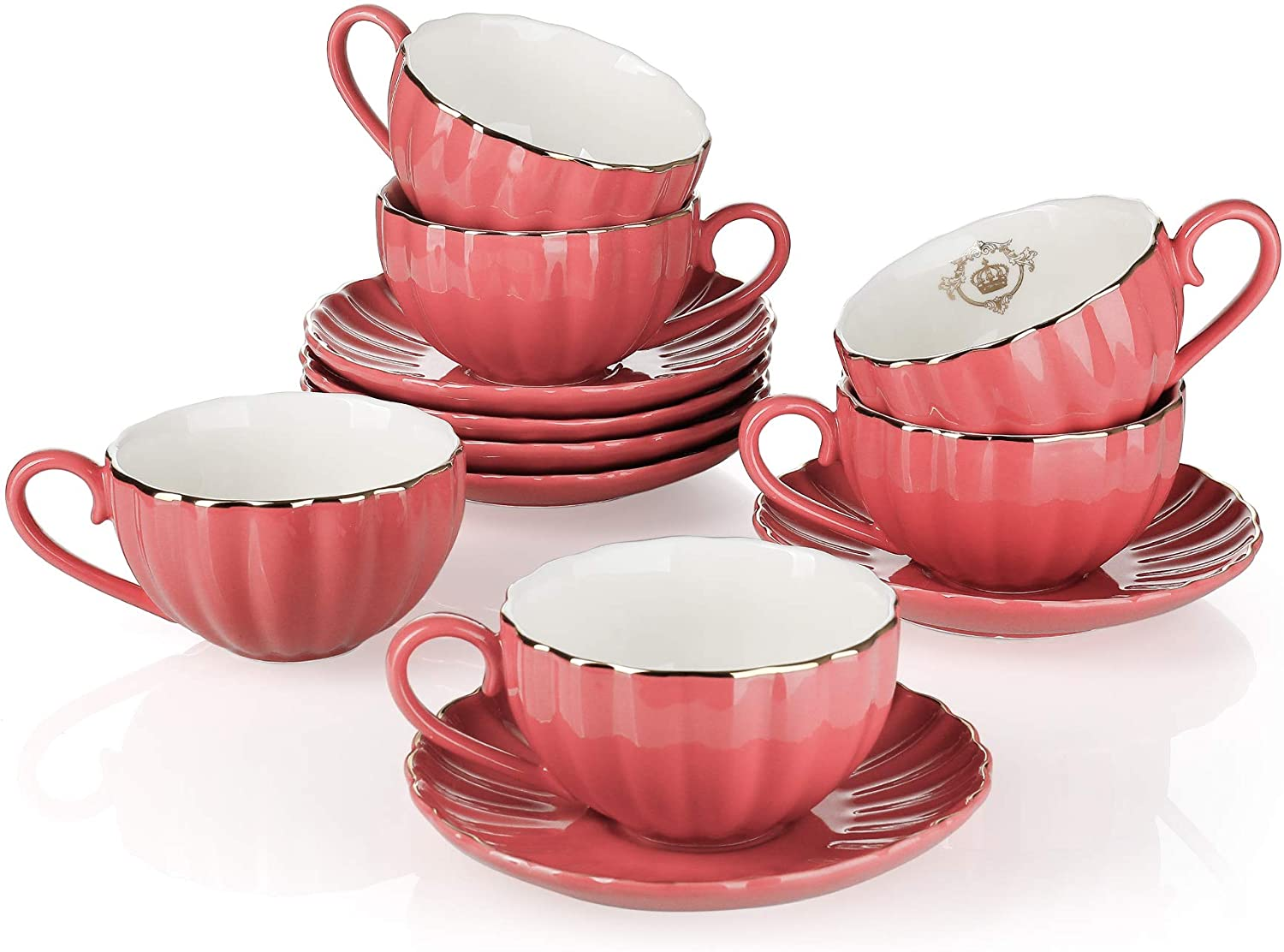 Amazingware Royal Tea Cups and Saucers, with Gold Trim and Gift Box, British Coffee Cups, Porcelain Tea Set, Set of 6 (8 oz)- Red