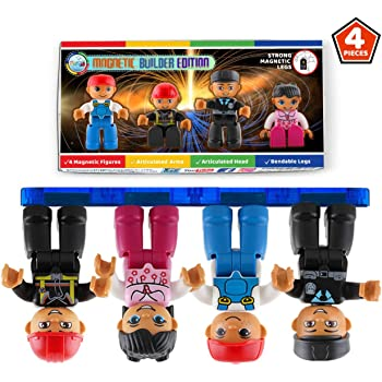 Magnetic Figures Set of 4 Toddlers Community Action Toy People, Magnetic Tiles Expansion Pack for Boys and Girls Nurse, Builder, Fireman, Police Educational STEM Toys Add on Sets for Magnetic Block