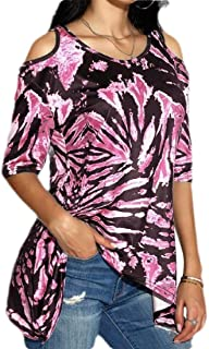 Women Casual Tie Dye Printing Short Sleeve Off Shoulder Round Neck Loose Shirt Blouse