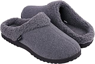 Snug Leaves Men's Cozy Memory Foam Slippers Wool-Like Fleece Lined House Shoes Indoor Outdoor Rubber Sole