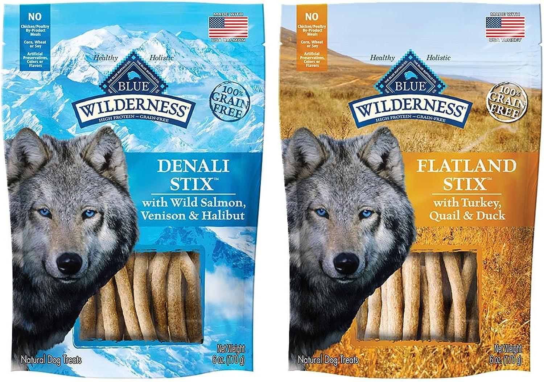 blueE BUFFALO Dog Wilderness Stix Grain Free SoftMoist Dog Treats Variety Pack  6 Ounce  Denali Stix and Flatland Feast Stix (2 Pack)