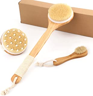 Bath Body Brush Set (3-Piece) – Includes Natural Detoxifying Facial Brush and Long Handle Body Brushes – Improves Blood Circulation, Exfoliates, Skin Health - Wet or Dry Back Shower Scrubber