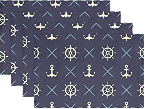 MAHU Placemat 6 Pieces Nautical Navy Blue Anchor Washable Table Place Mats 12x18 inch Polyester Heat Resistant for Kitchen Dinner Home Decor