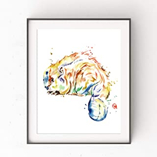 Beaver Art by Whitehouse Art | Otter Art, Nursery Decor, Baby Wall Decor | Professional Print of Beaver Original Watercolor | Baby Shower Gift | 5 Sizes