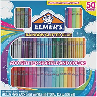 Elmer's Rainbow Glitter Glue Pen Set, Assorted Colors, 0.356 Ounces Each, 50 Count - Great For Making Slime