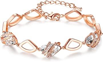 Leafael [Presented by Miss New York] Wish Stone Bracelet Made with Swarovski Crystals, Silver Tone or 18K Rose Gold Plated, 7