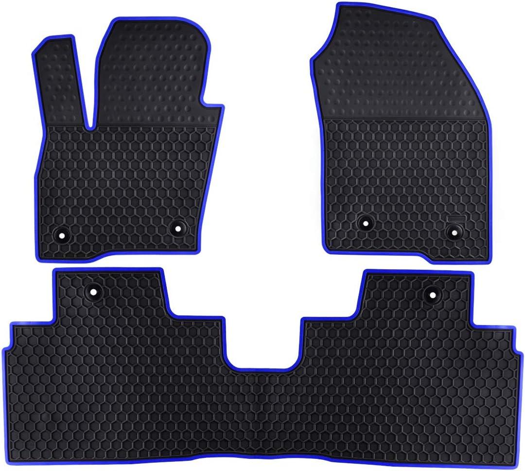 Ucaskin Car Floor Mats Custom Fit for Ford Edge 2015 2016 2017 2018 2019 2020 Odorless Washable Rubber Foot Carpet Heavy Duty Anti-Slip All Weather Protection Car Floor Liner-Blue