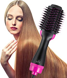 Hot Air Brush One Step Hair Dryer Brush Styler Volumizer 2-IN-1 Negative Ions Hair Dryer Hair Straightener & Curly Hair Comb 110V Black for Mother's Day Gift
