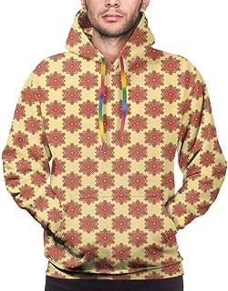 Men's Hoodies Sweatershirt,Floral Like Artful Surreal Traditional Symmetrical Arabian Medieval Illustration,