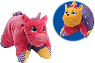 Flipazoo Flip 'N' Play Friends Plush Toy & Pillow in 1 (Pink and Lavender Unicorn/ Fashion Yorkie) Instantly Transforms for Hour