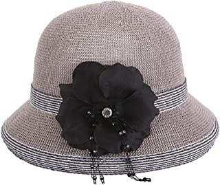 ZiWen Lu Hat Ladies Korean Version of The Summer New Grass Yarn hat Refreshing Breathable Straw hat Travel Outdoor Sun hat (Color : Grey, Size : M56-58cm)
