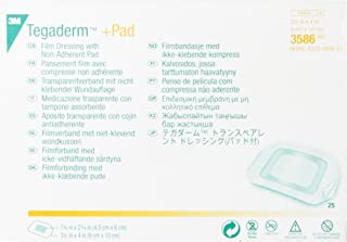 3M Tegaderm +Pad Film Dressing with Non-Adherent Pad 3586, 25 Pieces