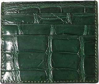 Umerbee Genuine Crocodile Belly Skin Leather Card Holder - Green Handmade Slim Fit for License Debit Cards Credit Card ID ...