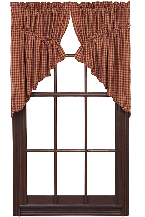 Ninepatch Star Prairie Swag Burgundy Check Scalloped Lined Set of 2 36x36x18