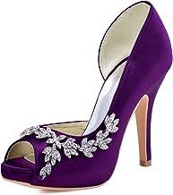 ElegantPark HP1560IAC Mujer Plataforma Peep Toe TAC¨®n Aguja Satin Zapatos De Noche Morado EU 39