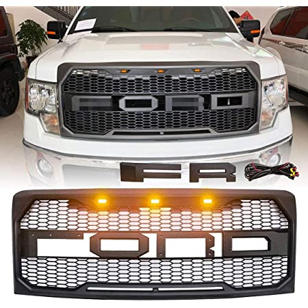 Front Grill Replacement for Ford F150 2009 2010 2011 2012 2013 2014 SEVENS Raptor Style Grille Hood Mesh Upgrades Bumper with Amber Lights Full Letters Emblems Matte Black