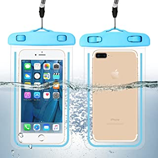 "2 Pack Waterproof Phone Case Universal Cellphone Dry Bag Pouch for iPhone 12 Pro max/11 Pro/XS/XR/SE 2020/8 7 Plus, Galaxy S20 up to 6.9"", Luminous Underwater Case + Neck Strap for Kayaking Pool Beach"