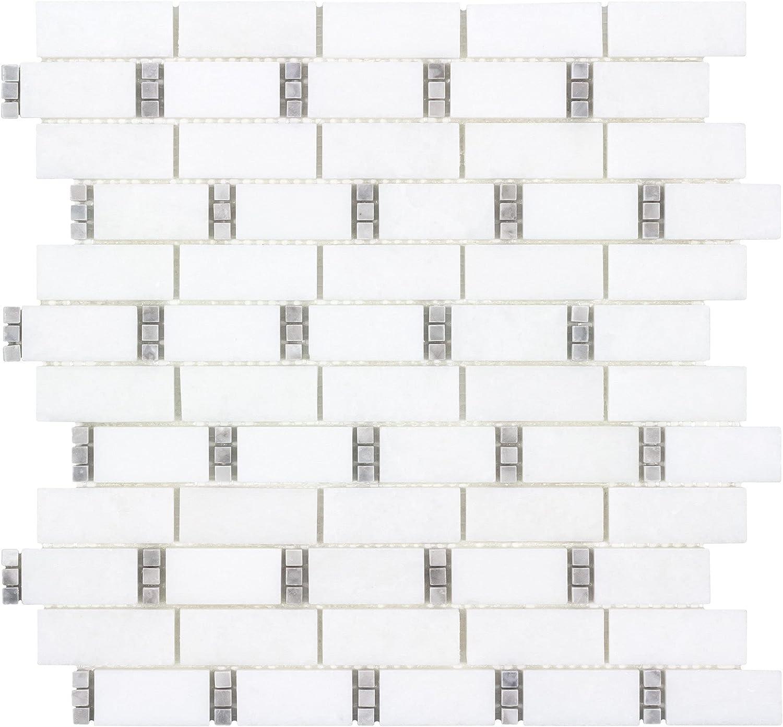 Modern White Max 58% OFF Gray Subway Super-cheap Stone Kitchen Mosaic Tile Marble Backsp