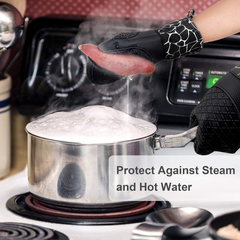 para cocinar Guantes Resistentes al Calor Asar a la Parrilla Black Guantes de Silicona Antideslizantes Hornear Gesentur Guantes y agarraderas para Horno
