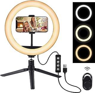 LED-ringlampa 10 tum med stativstativ och telefonhållare, etasche 3 färglägen och 10 ljusstyrka dimbar selfie-ringlampa me...