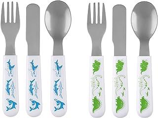 Brinware Toddler Utensils Kids Silverware Set - Fork Spoon and Knife Cutlery Set (6 Pack) Stainless Steel Flatware - Self ...