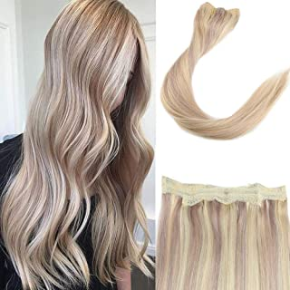 You Shine Crown on Hair No Clip No Glue No Damage Halo Extension 14inch Highlight Color 18/613 Remy Human Hair Extensions on a Hidden Fish Wire 11inch Width