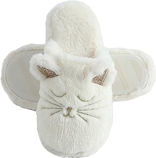Millffy Pantuflas de animales de gato peludo, antideslizantes, esponjosas y esponjosas de espuma viscoelástica para el hog...