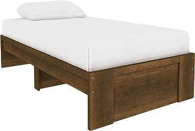 Amazon Basics Lit plateforme avec espace de rangement sous le lit - Une place, Bois