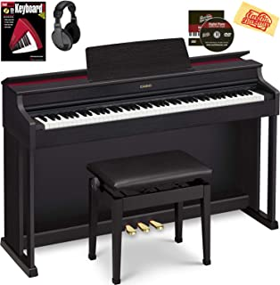 Casio AP-470 Celviano Digital Cabinet Piano - Black Bundle with Furniture Bench, Headphones, Online Lessons, Austin Bazaar Instructional DVD, and Polishing Cloth
