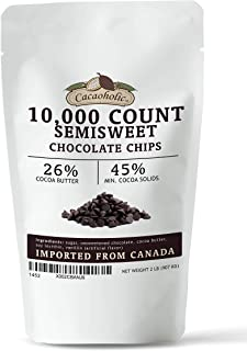 2 LB Cacaoholic Semisweet Chocolate Chips   10,000 Count Size   Resealable Stand Up Pouch
