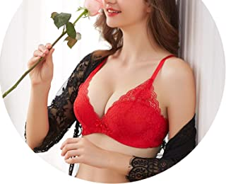 Women Sexy Bra Women Wire Free Adjustable Push Up Bras Sexy Lingerie Thick Floral Lace Bras,Red,85B