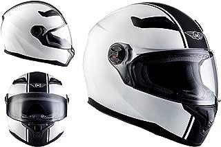 MOTO X86 Racing Matt White · Sport Urbano Moto motocicleta Fullface-Helmet Urban Scooter Cruiser Casco Integrale · ECE certificado · visera incluido · incluyendo bolsa de casco · Blanco · XS (53-54cm)