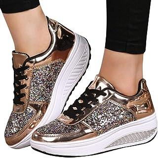 Alaso Chaussures de Sport À Lacets Talons Compensés Femmes, en Soldes Dames Plateforme Chunky Baskets Paillettes Mode Wedg...