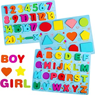 Wooden Puzzles for Toddlers, LENNYSTONE Alphabet Number Shape Learning Puzzle for Kids Ages 3 4 5, Montessori Toys Prescho...