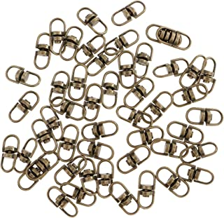 50 Pieces Metal Split Keychain Parts Swivel Key Ring Connectors Double Ended Loop Clasp Make Your Own Key Ring - Bronze, 12mm