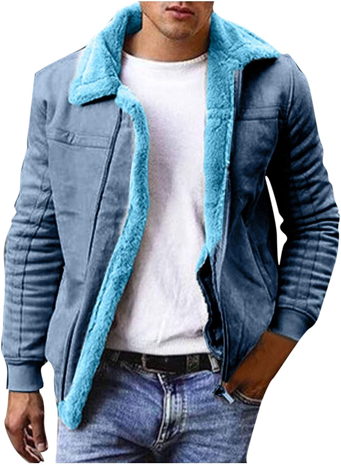 Men's Autumn Winter Sherpa Lined Jackets Zipper Casual Cardigan New Dealing full price reduction item