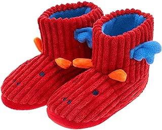 festooning Girls House Booties Winter Warm Comfy Indoor Red Dinosaur Slippers