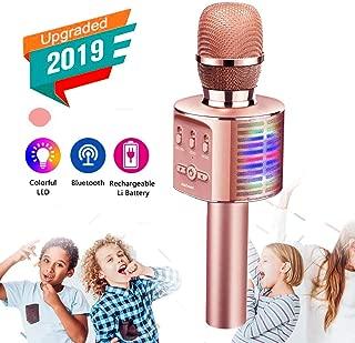 Catnes Wireless Bluetooth Karaoke Microphone, 2019 Update Louder Volume Karaoke Player,Portable Handheld Double Speaker Mic Machine LED Lights Music Playing Singing and Recording- Rose Gold